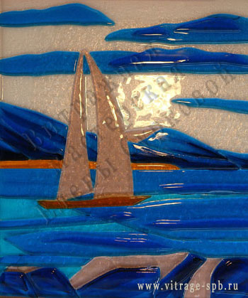 Sailing ship. Sintering of colored glass. Fusing.