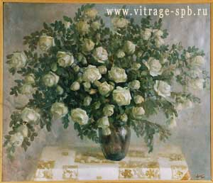 Still. Bouquet of flowers. White roses. Oil on canvas
