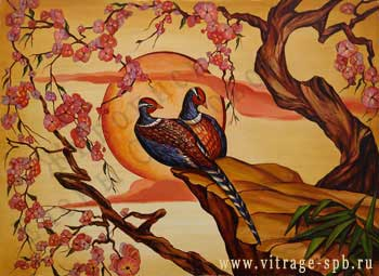 Decorative painting. Birds.